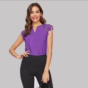 Raglan lace sleeve purple solid top